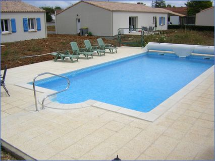 Pool and terrace at Nalliers