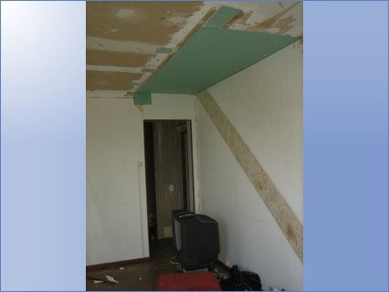 Old staircase removed, ceiling blocked i